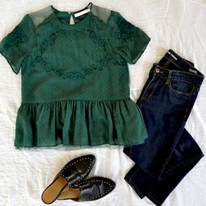 Zara Trafaluc Green Mesh Embroidered Blouse | SM